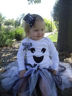 Spook-tacular Ghost Tutu Halloween Outfit or Costume fits Girls Newborn to size 5 Toddler Simply BOO-tiful. $42.00, via Etsy.