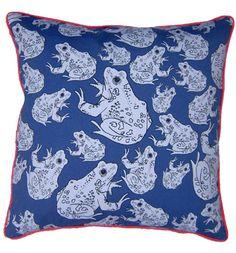 Navy Frog Cushion