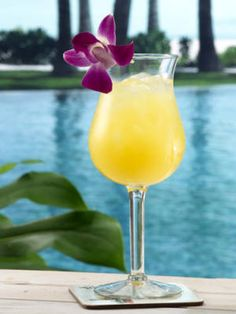 Calypso Sun (2 oz. light rum  2 oz. pineapple juice  1 oz. orange juice  1 oz. cream of coconut)