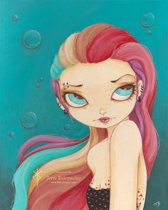 Rainbow Mermaid, 5x7 #Print