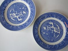 Vintage Blue and White Asian Salad Plates Set of by thechinagirl, $26.50