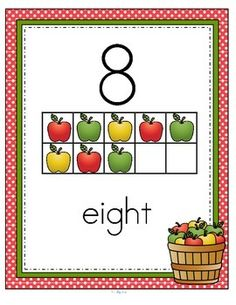 ***FREE***  This is a set of wall posters for numbers 0-10 featuring 10-frames graphic organizers and an Apple/Fall theme.
