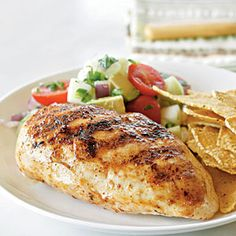 Chicken Breasts with Avocado, Tomato, and Cucumber Salsa | CookingLight.com