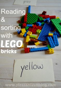 reading and color sorting with LEGO bricks