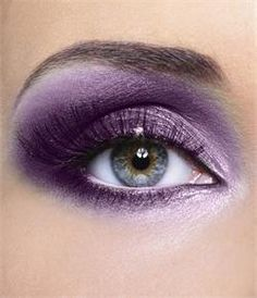 purple eye shadow.
