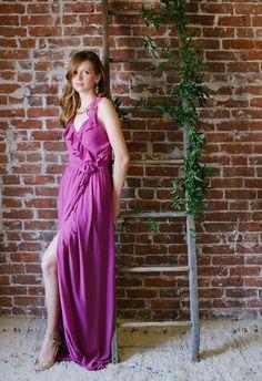 Love the ruffle neckline on this Joanna August bridesmaid dress!