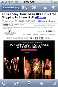 American Eagle Black Friday weekend email with countdown timer #emailmarketing #blackfriday