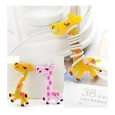 Couple Cute Cartoon Giraffe Earphone Winder Cord Manager Cable Winder Apparel Decor / Pack of 2 Pieces- Pink and Yellow