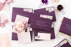 Plum packages with calligraphy by Laura Hooper - lhcalligraphy.com | Workshop Hosting, Styling, Design + Florals: Hey Gorgeous Events - heygorgeousevents.com | Photography: Bradley James Photography - bradleyjamesphotography.com  Read More: http://www.stylemepretty.com/little-black-book-blog/2014/06/03/trouvaille-workshop-wedding-inspiration/