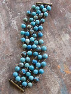 5 strand turquoise jasper beaded bracelet by ByJenJenWithLove