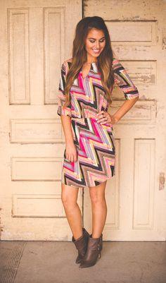 Dottie Couture Boutique - Multicolored Zig Zag Dress