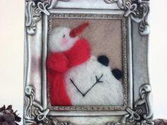 Snowman Decor - Felted Snowman - Snowman Framed Art - Winter Decor