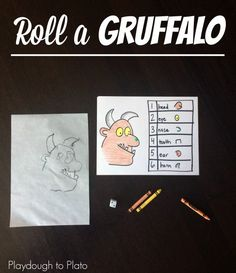 Roll a Gruffalo Math Game for Kids. Awesome follow up to Julia Donaldson's popular children's story. #math #preschool #gruffalo