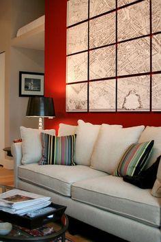 decor, interior, idea, red wall, maps, art, hous, live room, design