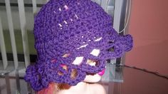 Little Girls' Crocheted Purple Scalloped Cloche  $18.00