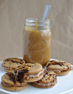 Nutella Peanut Butter Cookies with Caramel Sauce