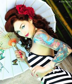Love the Parasol. #pinup #vintage #tattoo #rockabilly