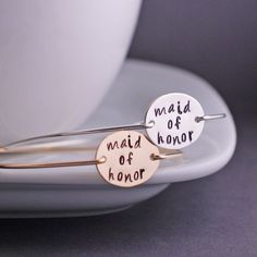 Maid of Honor Jewelry Gift Wedding Party Bangle Bracelets by georgiedesigns on Etsy