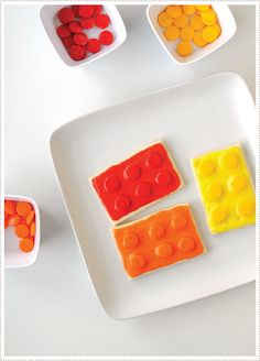 Lego Cookies - I am hoping that @Alona Bloom will make me these --:) birthday parti, food, lego parti, birthday idea, legos, cookies, cookie recipes lego, kid, lego cooki