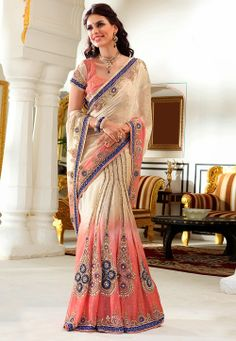 Shaded Beige Faux Chiffon Lehenga Style Saree with Blouse @ $332.39