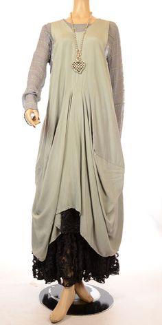 Grizas Lagenlook Grey & Mint Green Stripe Silk T-Shirt RRP £89.99-Grizas, Lagenlook, Tunic, T-Shirt,  Silk, Bamboo, Women's plus size clothing, Ladie's plus size clothing, idaretobe