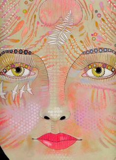 Jennifer Davis. Great colors and patterns Image Via: Jennifer Davis Paintings and Collages