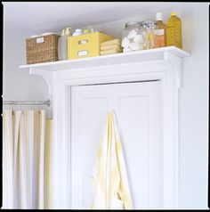 Space above a door or window often goes to waste. Mount a shelf above it and store extra toiletries in the bathroom or seldom used equipment or supplies in the kitchen.