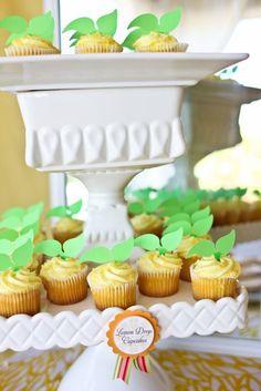 Lemon cupcakes. I love the leaves! #lemon #cupcakes