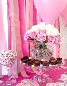 Valentine's Day dessert table ideas | PINK out with streamers and balloons and roses