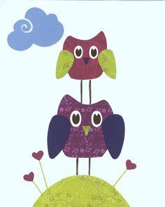 Owl Nursery Art, Purple Bird Kids Wall Art, 8x10 Print, Playroom decor, Children Spring, Bathroom Decor, Baby room art, Nursery wall prints via Etsy