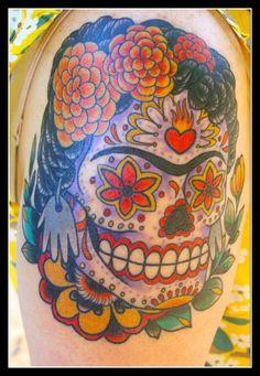 Pin Frida Kahlo Sugar Skull Face Paint Tattoo Ink Art Tattoos On