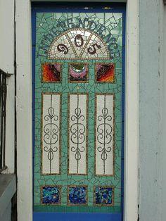 Beautiful Mosaic door in New Orleans~photo by Gila Mosaics n'stuff, via Flickr