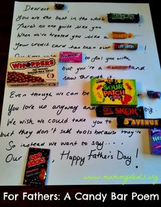 Father's Candy Bar Poem