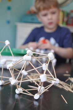 Marshmallows & Toothpicks!  Plan on teaching complicated molecules to my nephews and, eventually, my kids.  Gotta teach them organic early ;)