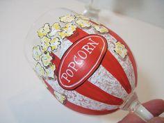 Popcorn Painted Wine Glass by KudosKitchenByRenee on Etsy, $33.00