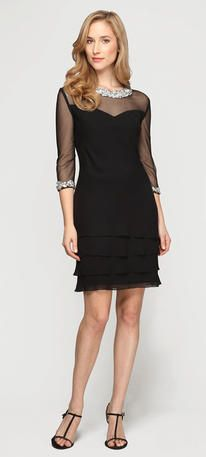 Mother of the Bride Dresses - 178150 Sheer Sleeves LBD Collar Cocktail