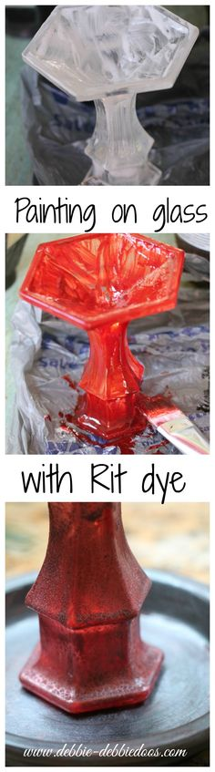Painting on glass with #ritdye. Making and #herbpot out of a light sconce. #Modpodge #dollartree
