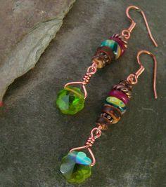 Long Dangle Bohemian Styled Earrings Green Crystal