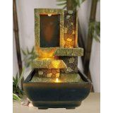 "Indoor Waterpot 9""H Decorative Table Top Stoney Ladder Led Fountain  #summer"