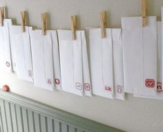 holiday, craft, envelopes, numbers, random acts, letter press, calendar design, letters, christmas advent calendars