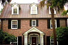 classy brick with copper roof
