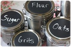 Chalkboard paint on the top of canisters