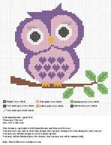 purple owl cross stitch basic owl