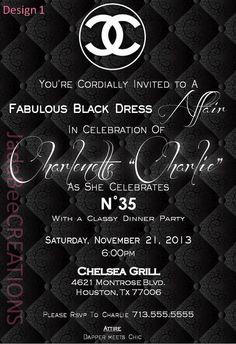 Classy Coco Chanel Theme Invitation (Birthday, Bridal, Baby Shower) on Etsy, $14.99