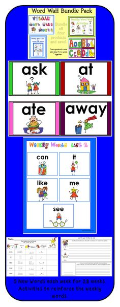 140 Visual Word Wall Words with 28 weekly activities to reinforce the words.  Colorful and visual words to make your word wall come alive.