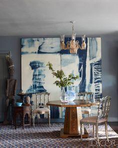 dining rooms, chair, interior, dine room, elle decor, new york city, blues, artwork, john robshaw