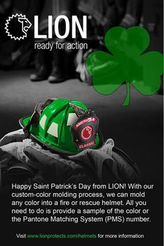 Happy St. Patrick's Day! Did you know you can order LION American Classic Helmets in ANY color (including Kelly Green)?  | Shared by LION