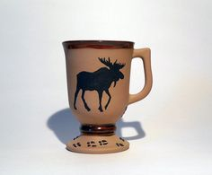 Woodland Theme Black Moose Copper Color Coffee Mug, Rustic, Man Cave Cup