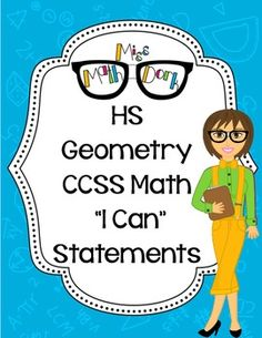 Included are: - Directions to prepare and use in your classroom - I Can Statement cards for ALL High School: Geometry Math CCSS  Pages are p...