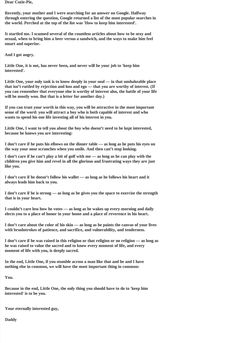 A Daddy's Letter To His Little Girl (About Her Future Husband) --- This made me cry.